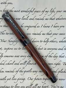 Hand-Crafted Hairy Oak Wooden Fountain Pen – Satin Finish