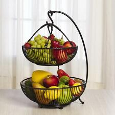 Large Fruit Basket With Banana Hook Holder 2 Tier Hanger Kitchen Storage Bowl