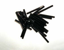 1 inch  BLACK GLASS STRAIGHT TUBE BUGLE BEADS  Approx 105 beads