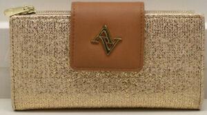 Adrienne Vittadini Studio Fold Out Tab Snap Wallet Glazed Rafia RFID Protect New