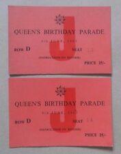 2 Tickets Queens Birthday Parade 1963