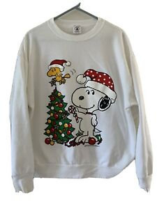 Vtg Delta Snoopy Woodstock Christmas tree white sweatshirt womens L USA tag