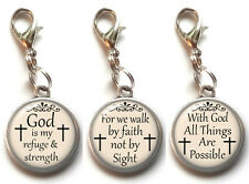 Clip On Charms Bible Verse Christian Religious Dangle Charm Lobster Clasp #11