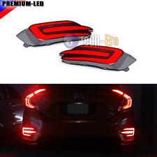 2PCS Rear Bumper Brake Lamp Red LED Lights For 16-17 Honda Civic 10th Sedan 4Dr