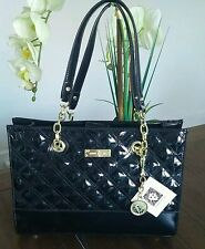 NEW ANNE KLEIN PATENT BLACK COAST IS CLEAR TOTE HANDBAG QUILTED