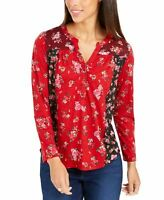 Style & Co Womens Floral Print Button Down Top Timely Rose Size Petite Medium