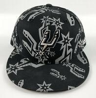 San Antonio Spurs Baseball Hat adidas Black Gray Repeat Logo - Size 7 5/8
