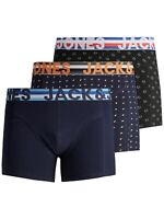 Jack & Jones Mens New 3 Pack Trunks Boxer Shorts Underwear Black Navy Patterned