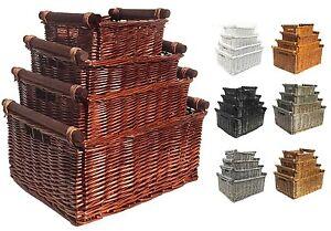 Large Deep Kitchen Log Willow Wicker Storage Handle Xmas Empty Hamper Basket