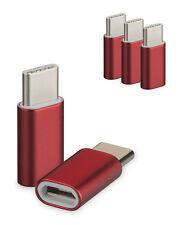 3er Set USB 3.1 Typ-C auf MicroUSB Adapter rot für Samsung Type C Stecker Kabel