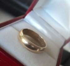 Super 9ct Yellow Gold Patterned Wedding Band Ring c.1990s London -  size L / M