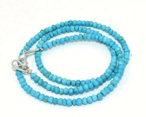"""Handmade sleeping Beauty Turquoise Gemstone 3-4 mm Rondelle Faceted Necklace 18"""""""