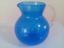 Vintage lemonade jug pitcher aqua blue trapped bubbles clear handle stunning
