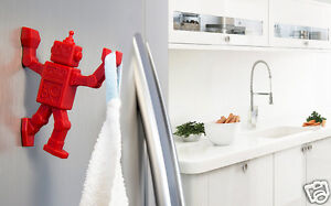 RED ROBOHOOK Magnetic Hanger Kitchen Ofiice Home Funky Gift By Peleg Design