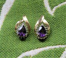 Vintage 14 k Pear-Shaped Amethyst Pierced Earrings One Chip Diamond Signed