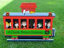 lawn stake Charlie Brown Christmas train to north pole Snoopy Woodstock Peanuts
