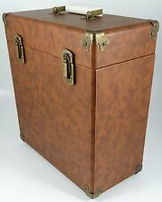 "GPO Vinyl Album Case Records 12"" LPs Storage DJ Flight Box with Lid - Brown"
