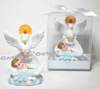 12 PC BAUTIZO PARTY FAVORS DOVE BABY BOY POLY RESIN RECUERDOS DE BAUTIZO NINO