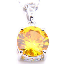 Royal Style Christmas Gifts Bright Yellow Citrine Gems Silver Necklaces Pendant