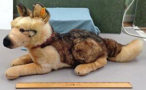 STEIFF GERMAN SHEPHERD Dog, Vintage Plush Stuffed Toy Animal w/ Button & Ear Tag