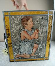 VTG Belgian Stained paint glass window signed 1970's little jesus religious