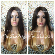 Lace Front Wig Ombre Brown Auburn Honey Blonde Long Straight Middle Part Heat Ok