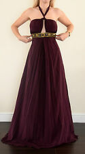 Alice By Temperley Embroidery burgundy silk dress size uk 8 BNWT F1