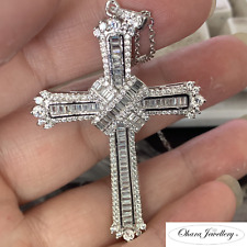 925 Solid Sterling Silver Large Crucifix Cross Cubic Zirconia Necklace Jewellery