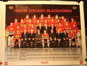 "1988-89 Chicago Blackhawks Coke 17 x 22"" Team Poster NHL Belfour Savard"