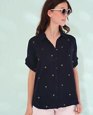 140449 New Des Petits Hauts Talula Printed Buttondown Black Cotton Blouse Top T0