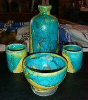 4PC Rustic Japanese Raku Art Pottery Sake Set Decanter Rice Bowl 2 Cups Blue Tan