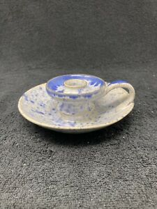 Neil Cole blue and white pottery candle holder