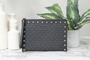 Michael Kors Jet Set Travel XL Studded PVC Leather Zip Clutch Wristlet Hand Bag