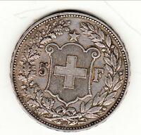 SUISSE (THUNE)  5 FRANCS  ARGENT /SILVER 1907  Berne qualité !