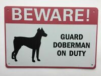 Beware Of Dog Sign Warning Protected By Doberman 12 x 8 Inch Metal Decor