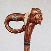 American Indian walking stick cane Hand carved