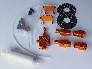 Front Hydraulic Brake System + wheel nut for HPI km rovan Baja 5B orange color