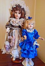 "Lot of 2 Vintage Porcelain Dolls 20"" Brunette by HoMai & 15"" Blonde by Brass Key"