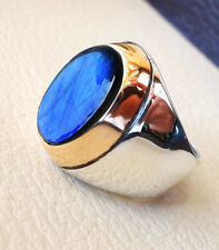 SOLID 925 SILVER FIRE LABRADORITE GEMSTONE MULTI TONE FATHERS MENS RING ALL SIZE