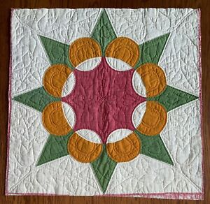 """Antique 1800's quilt square cheddar green red 23""""X 23"""" California Rose"""