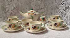 ANTIQUE 1912 CHILD'S STAFFORDSHIRE  TEA SET, BY MOLLY HANCOCK DEE, HAND PAINTED.
