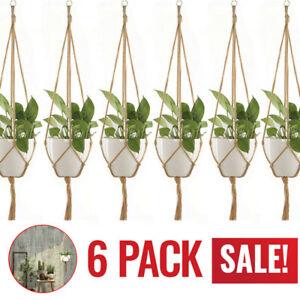 6PC Macrame Plant Hanger Vintage Rope Basket Outdoor Pot Holder Flower Garden US