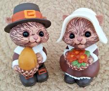 """Hallmark Thanksgiving Pilgrim Chipmunks Salt & Pepper Shakers Set 3"""""""
