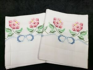 Vintage Pillowcases Hand Embroidered  Pink Floral Blue Ribbons Estate 1950s