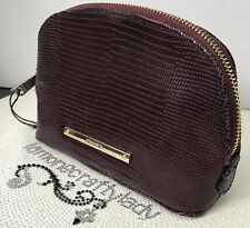 BRAHMIN Tina Makeup Bag Burgundy Wine Lizard Print Genuine Leather