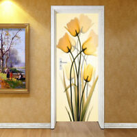 3D Yellow Flowers Self-adhesive Bedroom Door Mural Wall Sticker Wallpaper Decor