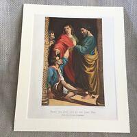 1860 Antico Stampa San Peter San John Raphael Pittura Cromolitografia