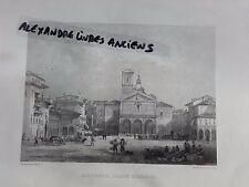 GRAVURE 1860 ITALIE LIVOURNE TOSCANE PLACE D'ARMES