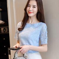 New Fashion Women Lace Summer Short Sleeve Casual Slim Chiffon Shirt Blouse Tops