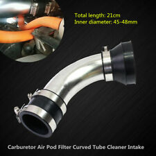 48MM Steel Motorcycle Carburetor Air Pod Filter Curved Tube Cleaner Intake Parts